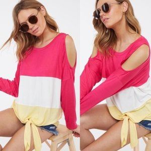 Taryn Color Block Front Tie Cold Shoulder Top